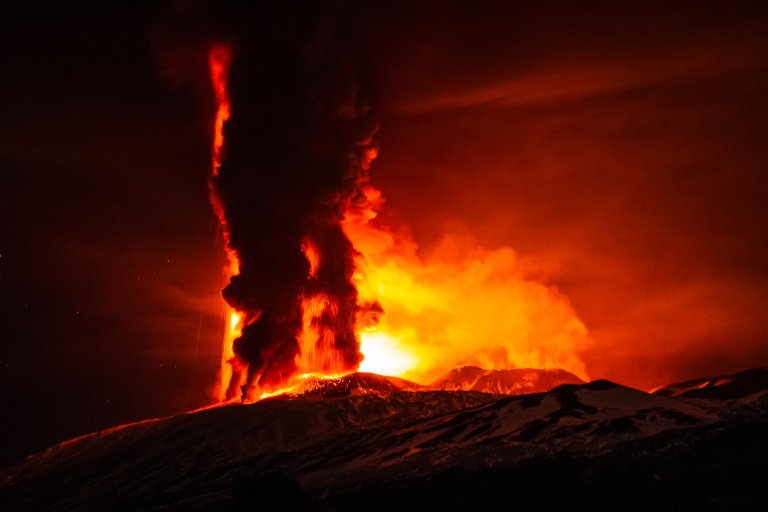 SICILY, ITALY - DECEMBER 03: A view of a volcanic eruption at Mount Etna's Vorgaine crater on December 03, 2015 in Sicily, Italy. PHOTOGRAPH BY Marco Restivo / Barcroft Media UK Office, London. T +44 845 370 2233 W www.barcroftmedia.com USA Office, New York City. T +1 212 796 2458 W www.barcroftusa.com Indian Office, Delhi. T +91 11 4053 2429 W www.barcroftindia.com