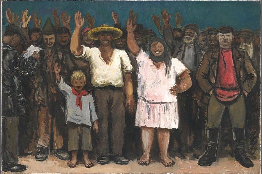 Самуил Адливанкин. Голосуют за исключение кулака из колхоза. 1931